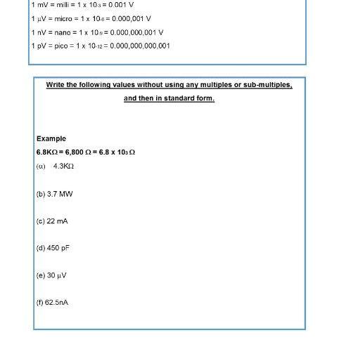 Multiples, submultiples and standard form worksheet