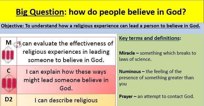 Religious experiences lesson