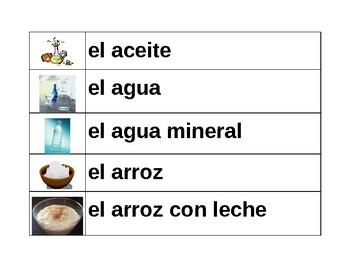 Comida (Food in Spanish) word wall