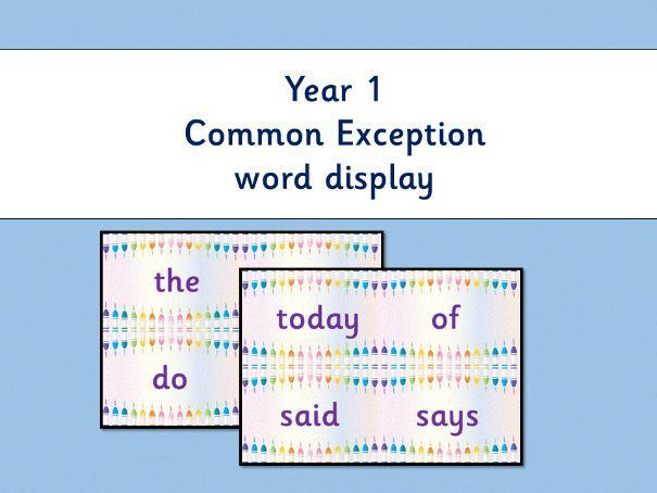 Year 1 Common Exception Words flash cards or display: cute crayons