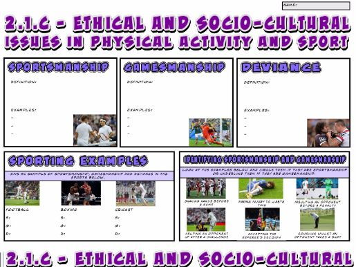 OCR GCSE PE 9-1 (2016) 2.1.c - Ethical + Socio-Cultural Issues in Physical Activity A3 Revision Mat