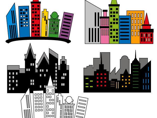 Superhero Skyline CIty Building Clip art - teacher resource clipart