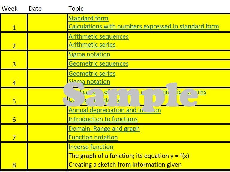 Scheme of work - IB Mathematics - Analysis and approaches - SL