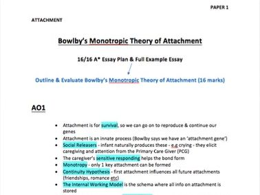 Bowlby's Monotropic Theory of Attachment Notes & Full Essay- A Level Psychology - AQA Paper 1