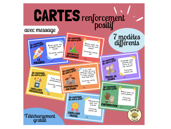 French Praise cards. 7 different templates, each with a blank version and another one with a message