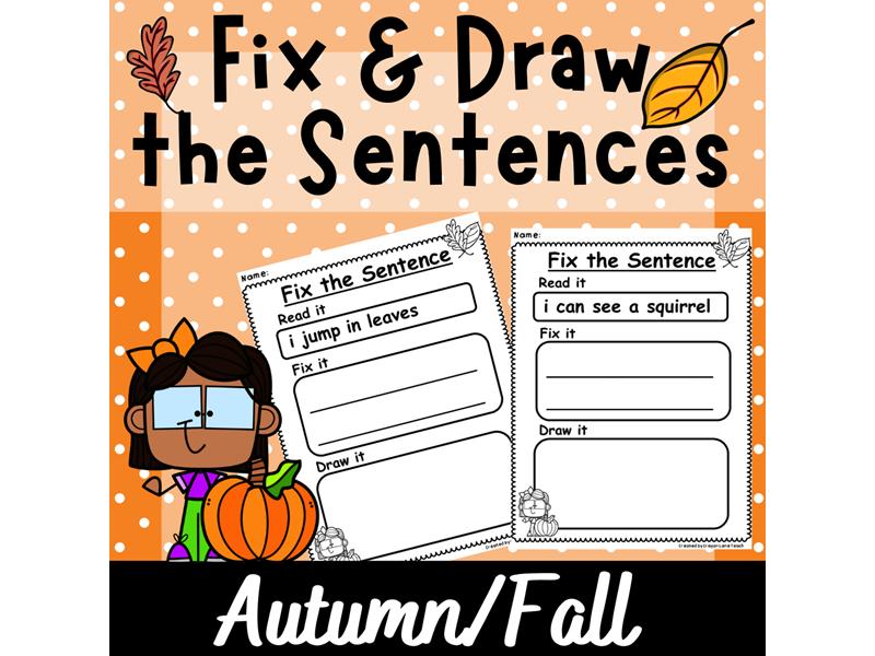 Sentence Structure Grammar Autumn Fix the Sentence Year 1 Year 2 KS1