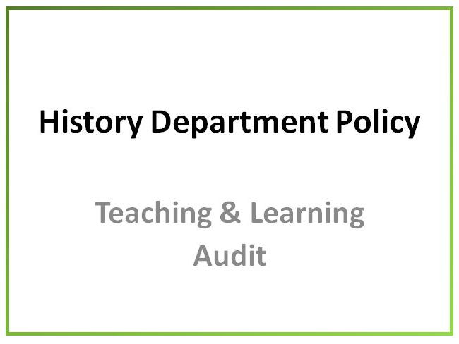 History Department Audit of Teaching and Learning