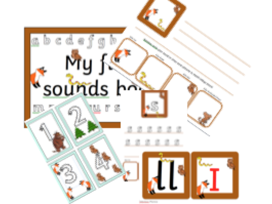 Gruffalo Reception number and sounds pack Phase 2 and  phase 3