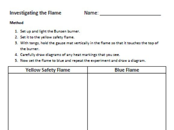 Year 7 Science Prac - Investigating the Flame (Bunsen Burner)
