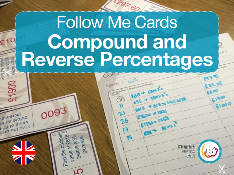 Compound and Reverse Percentage | Follow Me Cards - UK version