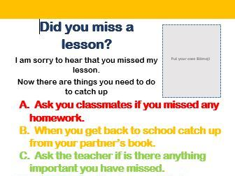 Student missed lesson policy