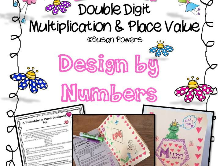 Valentine's Card Design by Numbers with Multiplication & Place Value