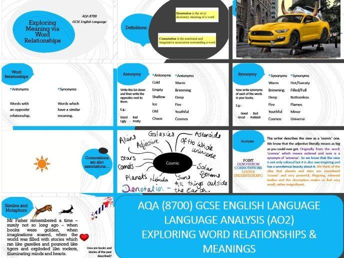 AQA 8700 GCSE English Language - Analysis Basics AO2