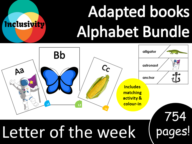 26x Adapted Books Alphabet letter of the week Level 1, level 2 and level 3