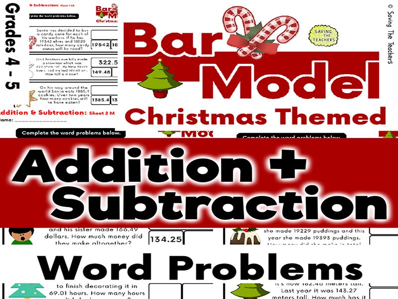 Christmas Addition and Subtraction Bar Model Word Problems - Years 5 and 6