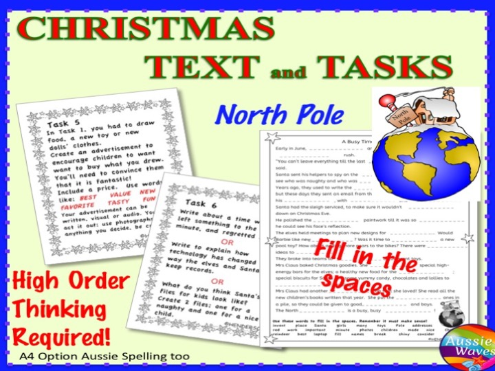 CHRISTMAS READING Passage and Activities Centre Task Cards High Order Thinking