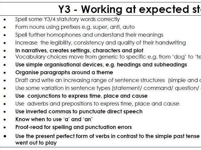 Writing Assessment Sheets Y1 - Y6