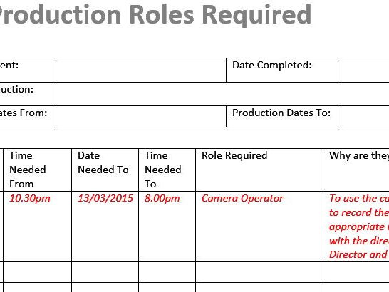 Production Roles Template (Film & TV/Media)
