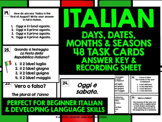 ITALIAN DAYS DATES MONTHS SEASONS CHALLENGE CARDS