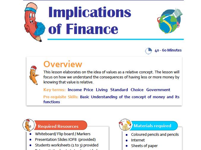 Implications of Finance Lesson Plan for KS1