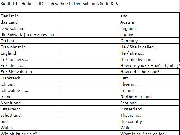 Echo Express 1 Module 1 Vocabulary Matching Exercises