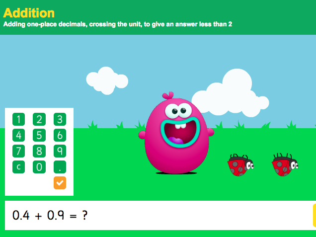 Addition with Decimals: Tenths - Interactive Game 5 - KS2 Number