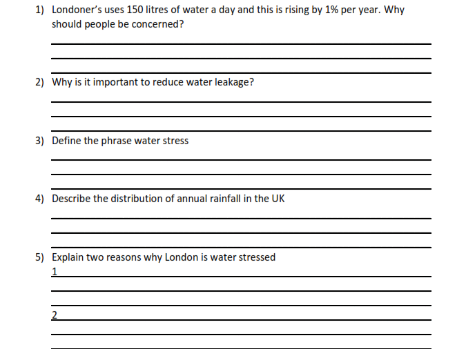 AQA Geography 9-1 Pre-Release 2018  Questions Booklet Unit 3