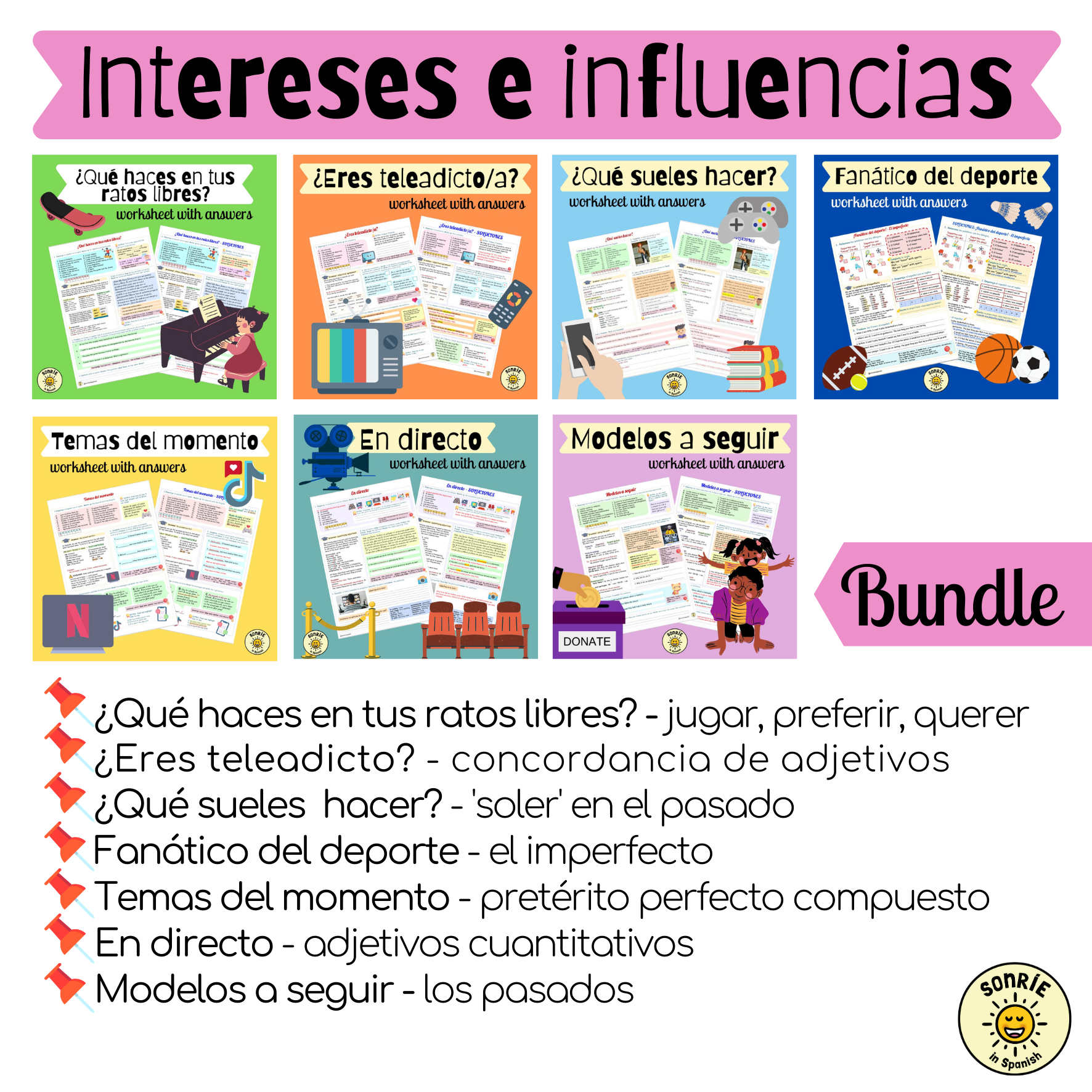 Intereses e influencias. Pack de fichas con soluciones sobre el tiempo libre/modelos a seguir. Spanish GCSE bundle on free time/role models. Worksheets with answers