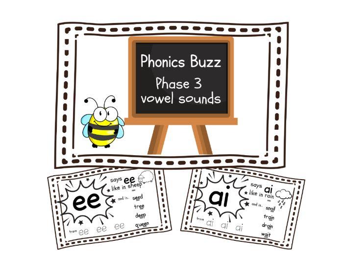 Phonics Phase 3 vowel sounds flipbook/flashcards