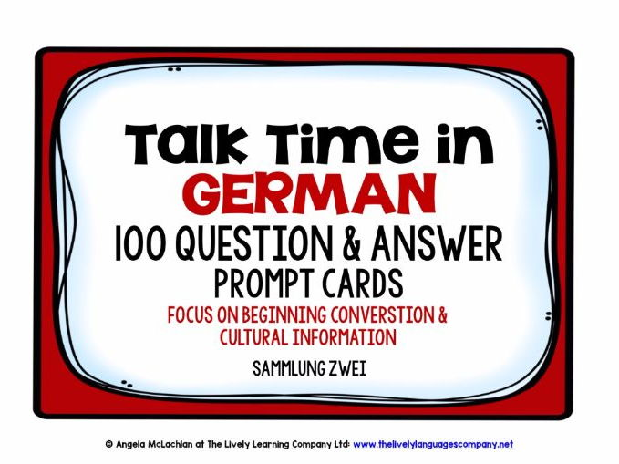GERMAN SPEAKING PRACTICE (2) - 100 PROMPT CARDS & REFERENCE BOOKLET