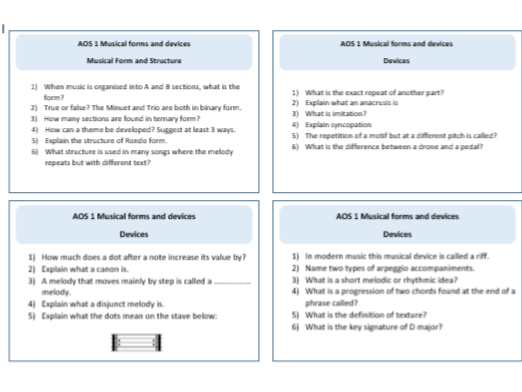 Eduqas GCSE Music AOS 1 Musical forms and devices - Revision cards