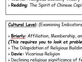 Secularisation - Key Names and Hints