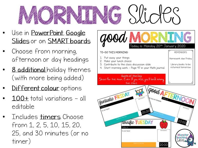 Editable Morning Slides with Timers