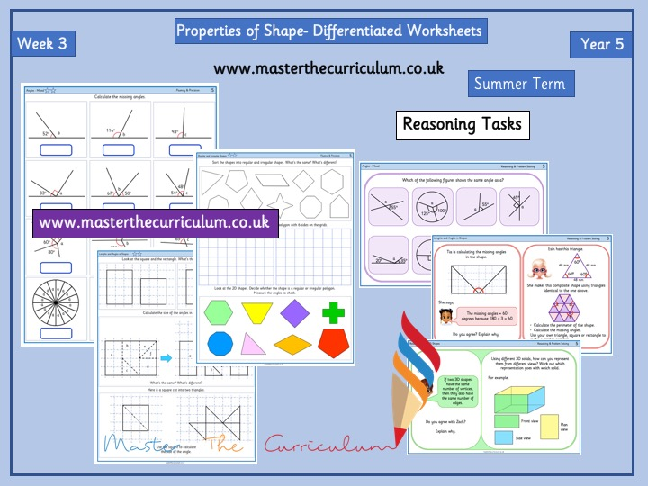 Year 5- Summer - Week 3 Differentiated Properties of Shape Worksheets - White Rose Style
