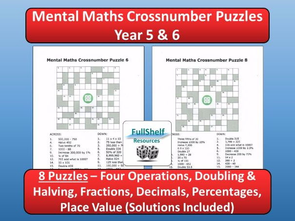 Mental Maths Crossnumbers Year 5 / 6