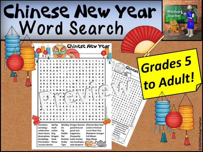 Chinese New Year Word Search - Hard