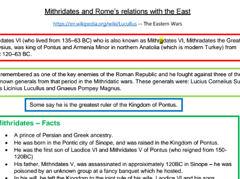 Mithridates and Rome's relations with the East