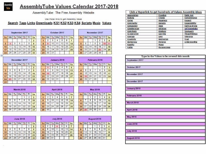 Assembly Values Calendar 2017-2018