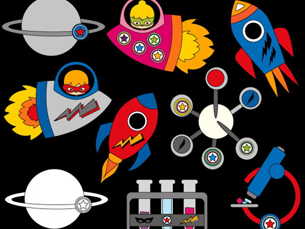 Superhero Rocket science Clip art (space ship, planets, science experience)