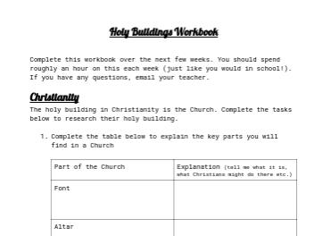 Holy Buildings Workbook