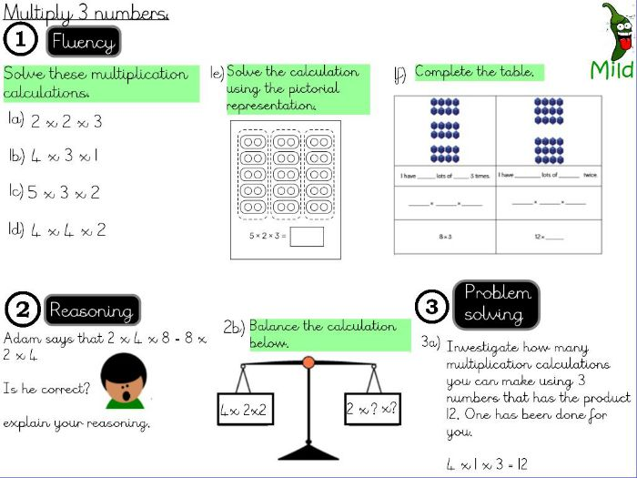 Multiplication and Division - Multiply 3 numbers.