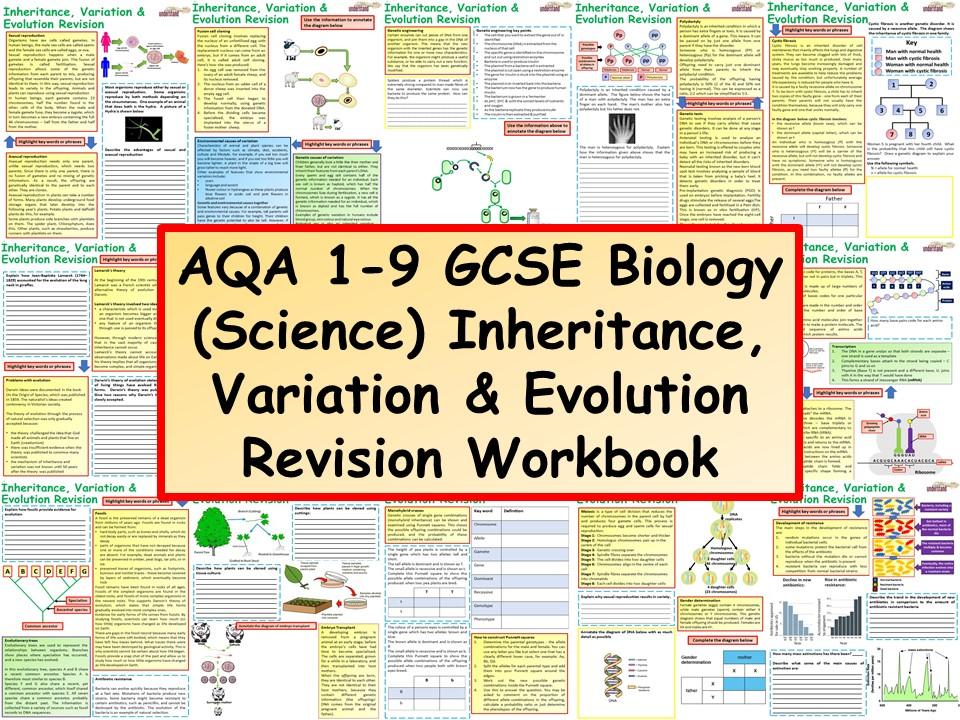 AQA 1-9 GCSE Biology (Science) Inheritance, Variation & Evolution Revision Workbook