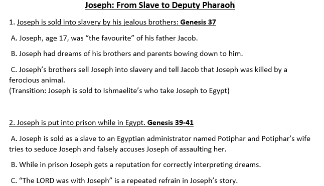 Lesson Plan - Joseph: From Slave to Deputy Pharaoh