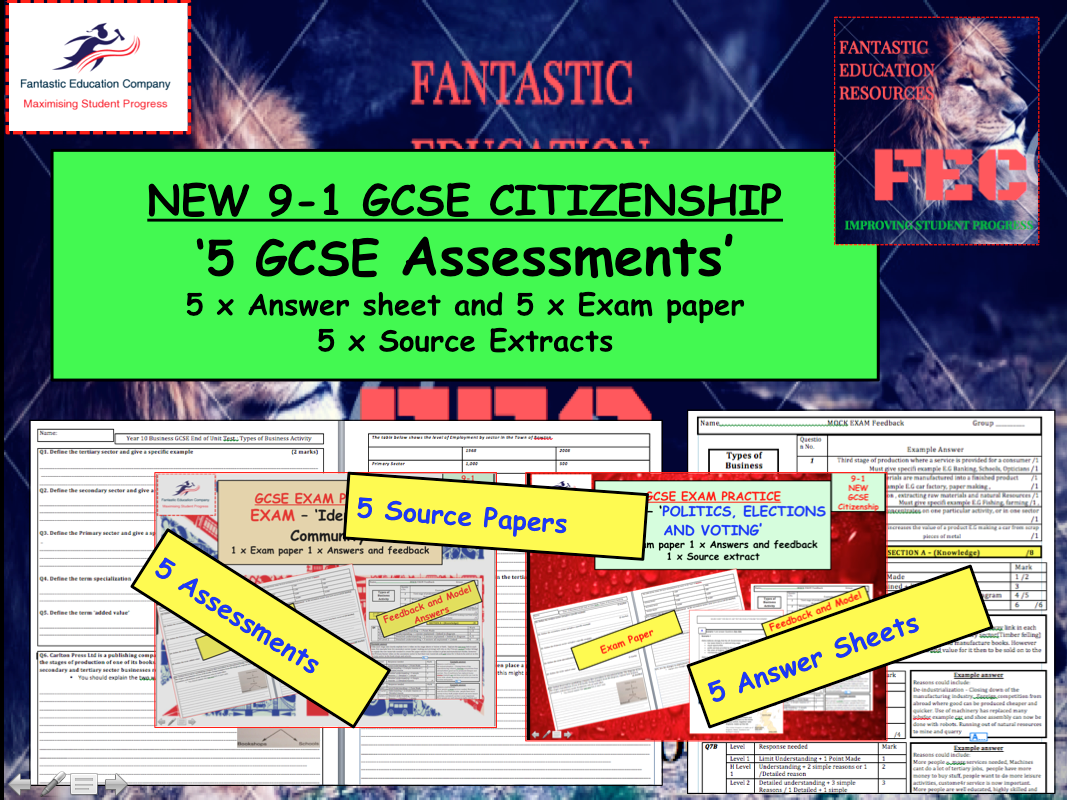 GSE CITIZENSHIP 9-1 ASSESSMENTS AND EXAMS x 5