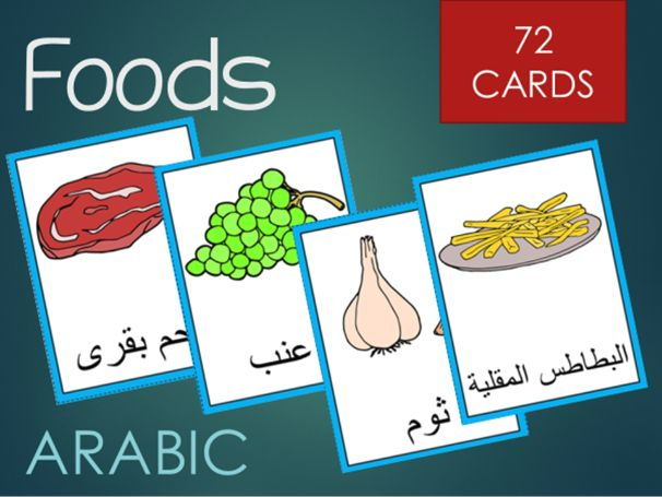 Arabic food word cards