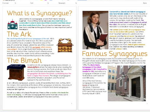 Judaism: The Synagogue: Differentiated Information and Task Sheets