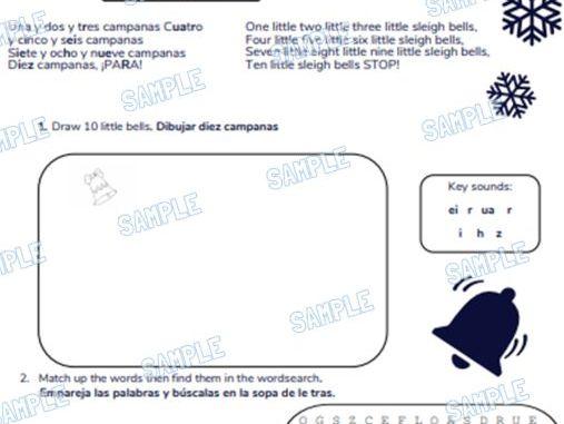 Spanish Primary School Worksheet & MP3 Music File - Christmas Theme (10 Little Sleigh Bells)