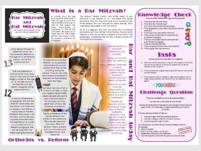 Judaism - Practices: Bar and Bat Mitzvah Task Mat