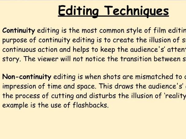Unit 1 - Editing & Sequencing and Sound & Audio Effects
