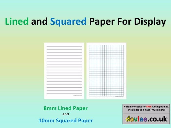Lined and Squared Paper For Display